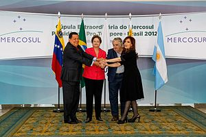 Mercosur - The then-presidents of Venezuela, Brazil, Uruguay and Argentina together in Brasilia in 2012.