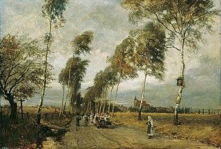Landstraße mit Birkenallee