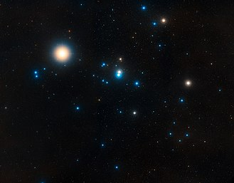 Rho Tauri - Hyades, with ρ Tau appearing blue left of centre