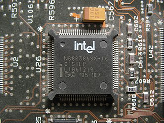 Intel 80386 - A surface-mount version of Intel 80386SX processor in a Compaq Deskpro computer. It is non-upgradable unless hot air circuit board rework is performed