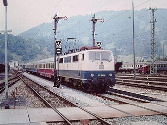 Karwendel (train) - DB Class 111 with IC Karwendel in Garmisch-Partenkirchen (1983)