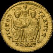 Solidus de Valens[a] de Valentinianic