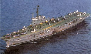 INS Vikrant circa 1984 carrying a unique complement of Sea Harriers, Sea Hawks, Allouette & Sea King helicopters and Alize ASW.jpg