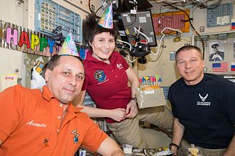 Zvezda (ISS module) - Expedition 43 crew celebrate a birthday in Zvezda module, 2015