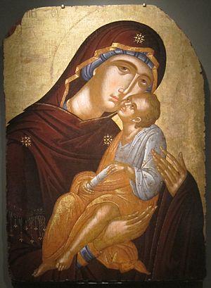 Angelos Akotantos - Icon of the Mother of God and Infant Christ (Virgin Eleousa)