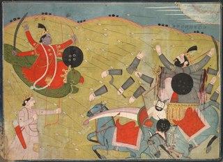 Krishna Vanquishing Vanasura: Scene from the Aniruddha Usha Section of Krishna Lila