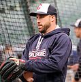 Indians second baseman Jason Kipnis works out before -WorldSeries Game 1. (30275038320).jpg