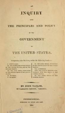 Inquiry into the Principles and Policy of the Government of the United States.djvu