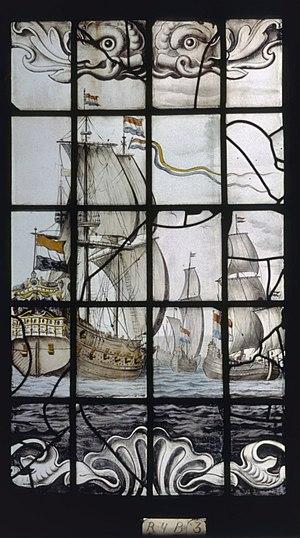 """De Rijp - Image: Interieur, gebrandschilderd glas, raam 4 """"Haringvisserij"""", detail B3 De Rijp 20362712 RCE"""