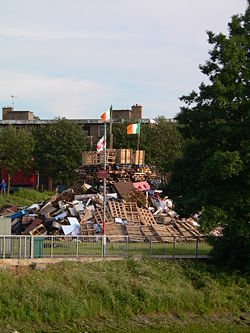 Irish flag on bonfire