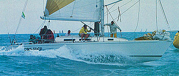 English: J/39 cruising and racing sailboat sai...