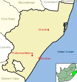 Durbans beliggenhed i KwaZulu-Natal