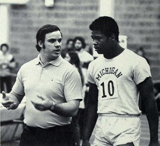 1976 Michigan Wolverines football team - Russell Davis with track coach Jack Harvey