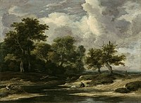 Jacob van Ruisdael -A wooded river landscape with a traveller and dog.jpg