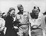 Jacqueline Cochran with her Army Air Force adjutant and trainees at Avenger Field.jpg