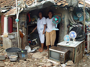 Water privatisation in Jakarta - Slum residents in Jakarta.