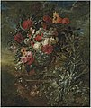 Jan Baptist Bosschaert - Roses, a sunflower, carnations, chrysanthemums, a tulip and other flowers in a sculpted stone urn.jpg