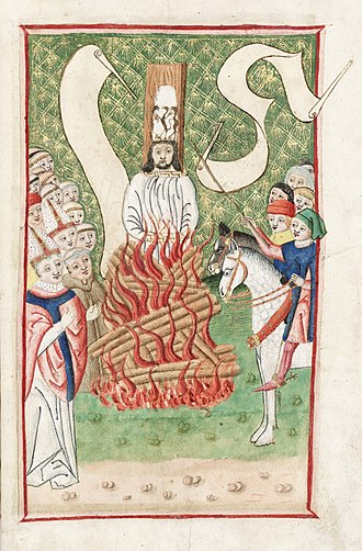 Hussite Wars - Burning of Jan Hus at the Council of Constance, Jena Codex, 15th century