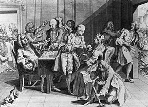 Robert Jenkins (master mariner) - Robert Jenkins hands a dismissive Prime Minister Robert Walpole his severed ear, as his companions lift off his wig to show the scar; one of Walpole's associates displays total indifference, preferring to converse with a lady. Satirical Cartoon, 1738, British Museum