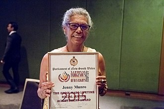 National Indigenous Human Rights Awards - Jenny Munro holding her award at the National Indigenous Human Rights Awards