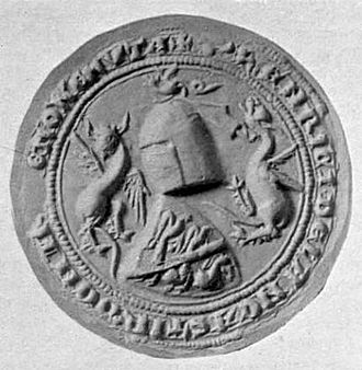 Henry, 3rd Earl of Lancaster - Seal of Henry of Lancaster from the Barons' Letter of 1301, which he signed as Henricus de Lancastre, Dominus de Munemue (Henry of Lancaster, Lord of Monmouth). His shield couche shows the armorial of Plantagenet differenced by a bend azure (see below)