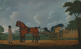 Curricle - A Gentleman, his bays harnessed to a curricle. 1806, oil by John Cordrey c. 1765-1825