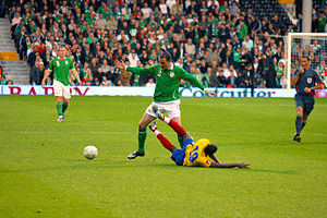 John O'Shea - O'Shea playing for the Republic of Ireland against Colombia, 2008