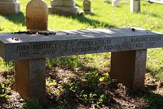 John Reister - Bench dedicated to Reister in Reisterstown Community Cemetery