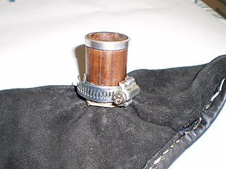 Hose clamp - A hose clamp used to hold the leather in place while tying-in the bag of bagpipes.