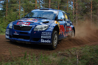2009 Rally Finland - Red Bull Rally Team's Juho Hänninen won the Group N class in a Škoda Fabia S2000.