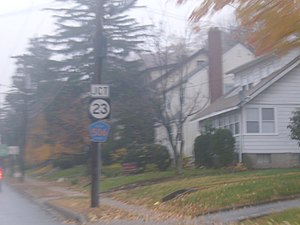 New Jersey Route 23 - Junction sign for Route 23 and County Route 506 on County Route 577 in Verona.