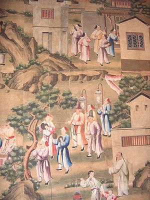 Wallpaper - Hand-painted Chinese wallpaper showing a funeral procession, made for the European market, c. 1780