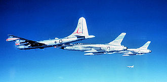 47th Flying Training Wing - KB-50J of the 420th Air Refueling Squadron refueling 2 Republic F-105D's from the 36th TFW, Bitburg AB West Germany.