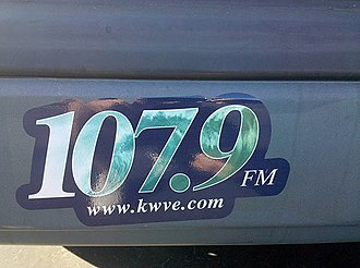 KWVE-FM - A previous branding of the station as seen on a bumper sticker.