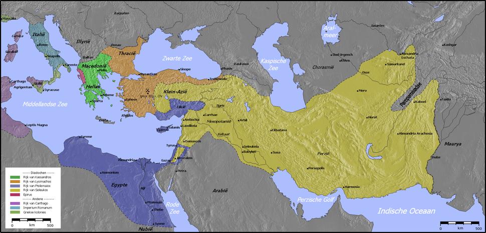 Kaart van de diadochenrijken (300 v. Chr.)