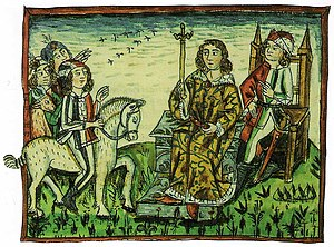 Slovenia - A depiction of an ancient democratic ritual of Slovene-speaking tribes, which took place on the Prince's Stone in Slovene language until 1414.