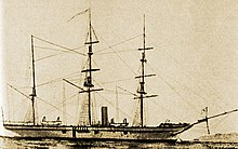 Side view of a three-masted ship with a smokestack on a flat sea