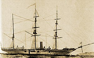 Boshin War - The Shogunate's ''Kanrin Maru'', Japan's first screw-driven steam warship, 1855. The Shogunate actively pursued modernization, but was faced by growing internal discontent against the harm to national sovereignty brought on by contact with Westerners.