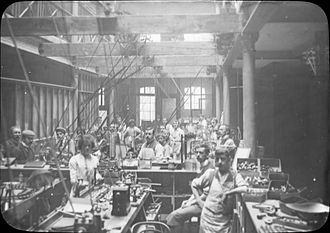 Peterson Pipes - View of the production floor, circa 1911.