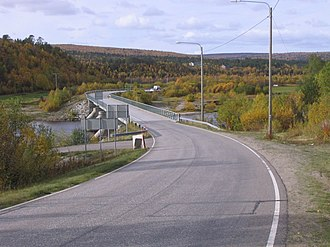 Karigasniemi - The bridge over the Inarijoki river in Karigasniemi, on the border of Finland and Norway.