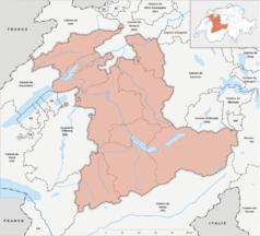 """Mapa konturowa Berna, na dole znajduje się punkt z opisem """"Kandersteg"""""""
