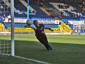 Kasper Schmeichel - Schmeichel making a save during training while on loan at Bury on 23 September 2006