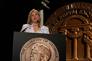 Henry W. Grady College of Journalism and Mass Communication - Katie Couric hosting the 63rd annual Peabody Awards luncheon in 2004 at the Waldorf Astoria Hotel in New York City.