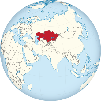 Kazakhstan on the globe (Eurasia centered).svg