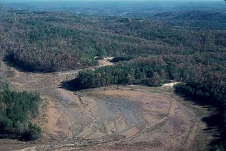 Kelly Barnes Dam - View of former reservoir area after the dam failure.