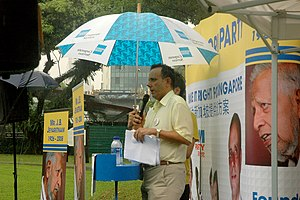 Kenneth Jeyaretnam - Jeyaretnam speaking in the rain at a Reform Party rally at Speakers' Corner on 15 January 2011