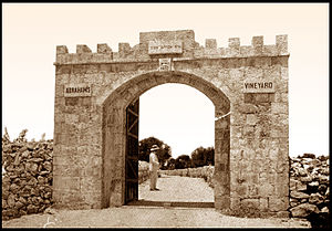 Kerem Avraham - James Finn at the entrance to Kerem Avraham, 1852