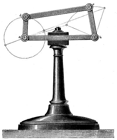 Illustration of a four-bar linkage from The Kinematics of Machinery, 1876 Kinematics of Machinery - Figure 21.jpg