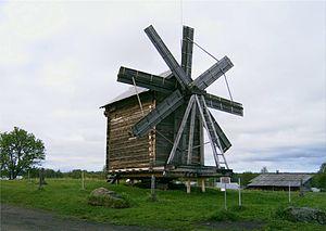 Heckington Windmill - Eight-sailed post windmill with short sails on Kizhi island, Lake Onega, Russia