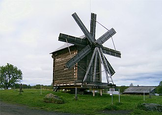 Heckington Windmill - Eight-sailed post windmill with short sails on Kizhi island, Lake Onega, Russia